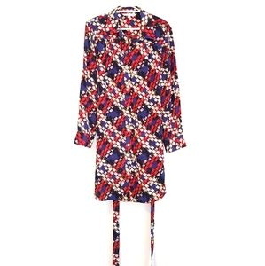 TRINA TURK 100% Silk Red Blue Checked Dress 12